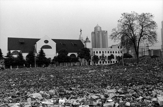 The church, and the demolition